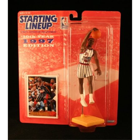 HAKEEM OLAJUWON HOUSTON ROCKETS 1997 NBA Kenner Starting Lineup and Exclusive TOPPS Collector Trading Card 1988 Starting Lineup Cards
