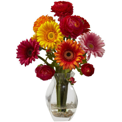 Nearly Natural Gerber Daisy and Ranunculus Delight  Arrangement in Glass Vase