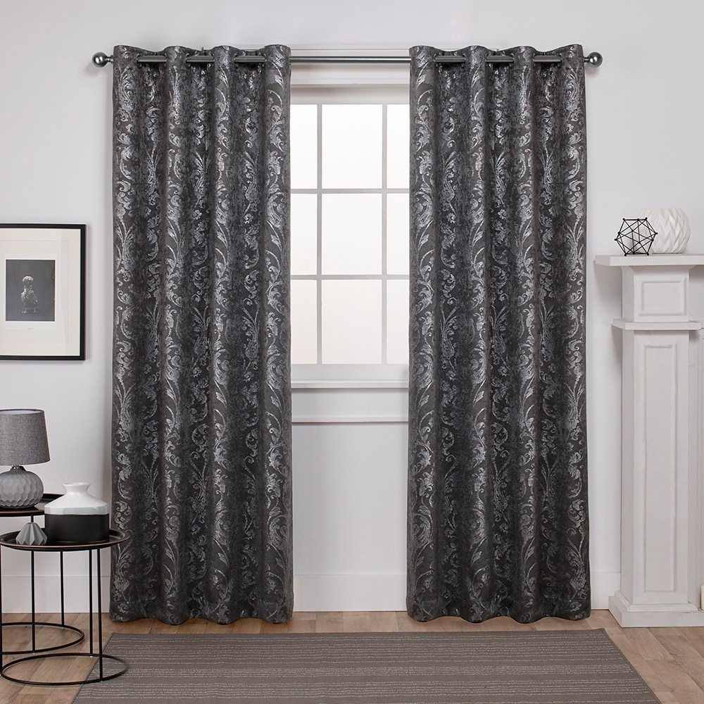 Exclusive Home Watford Distressed Metallic Print Thermal Window Curtain Panel Pair with Grommet Top