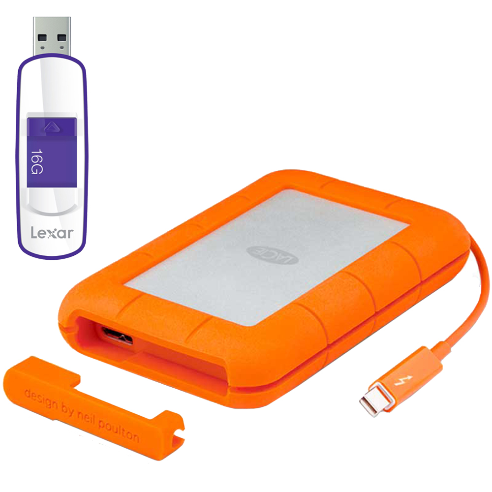 LaCie Rugged Thunderbolt Mobile Hard Drive w/Integrated Cable 250GB w/Flash Drive