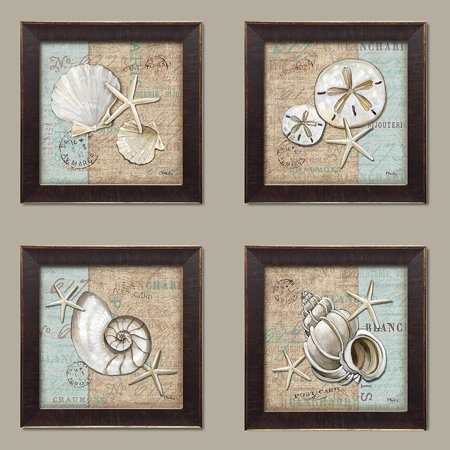 Brown Postcard - Trendy Coastal Art Shells on Linen and Postcard Style-background; Coastal Decor Set, Four 12 by 12-Inch Gold Trim Brown Framed Prints