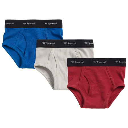 Sportoli Kids Tagless Briefs Boys and Toddlers Underwear Ultra Soft 100% Cotton Pack of 3 Classic White and Assorted Colors - Halloween Underwear