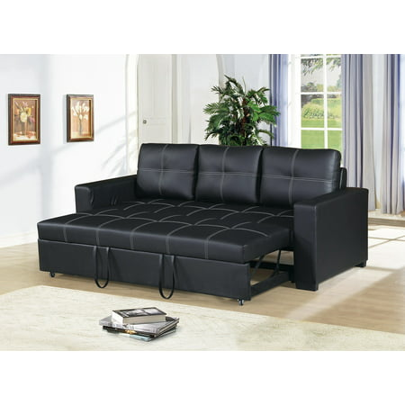 Modern Convertible Sofa Black Faux Leather Square Shape Sching W Pull Out Bed Comfort Couch