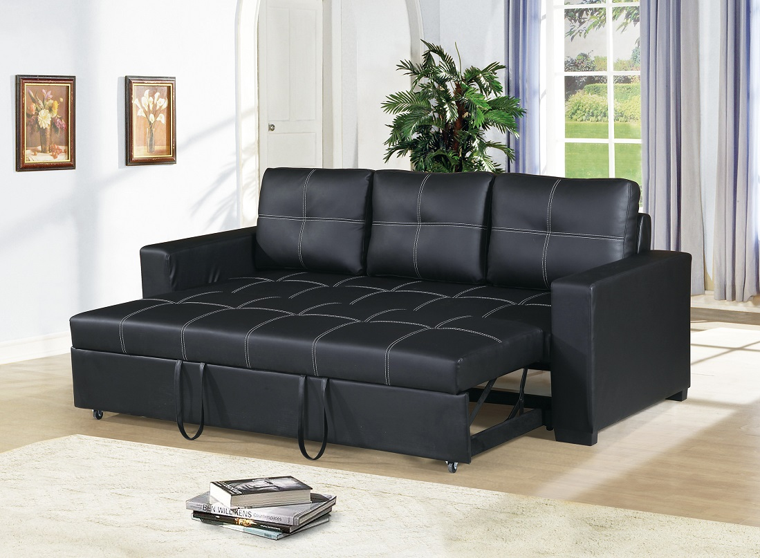 Modern Convertible Sofa Black Faux Leather Square Shape Stitching Sofa W  Pull Out Bed Comfort Couch