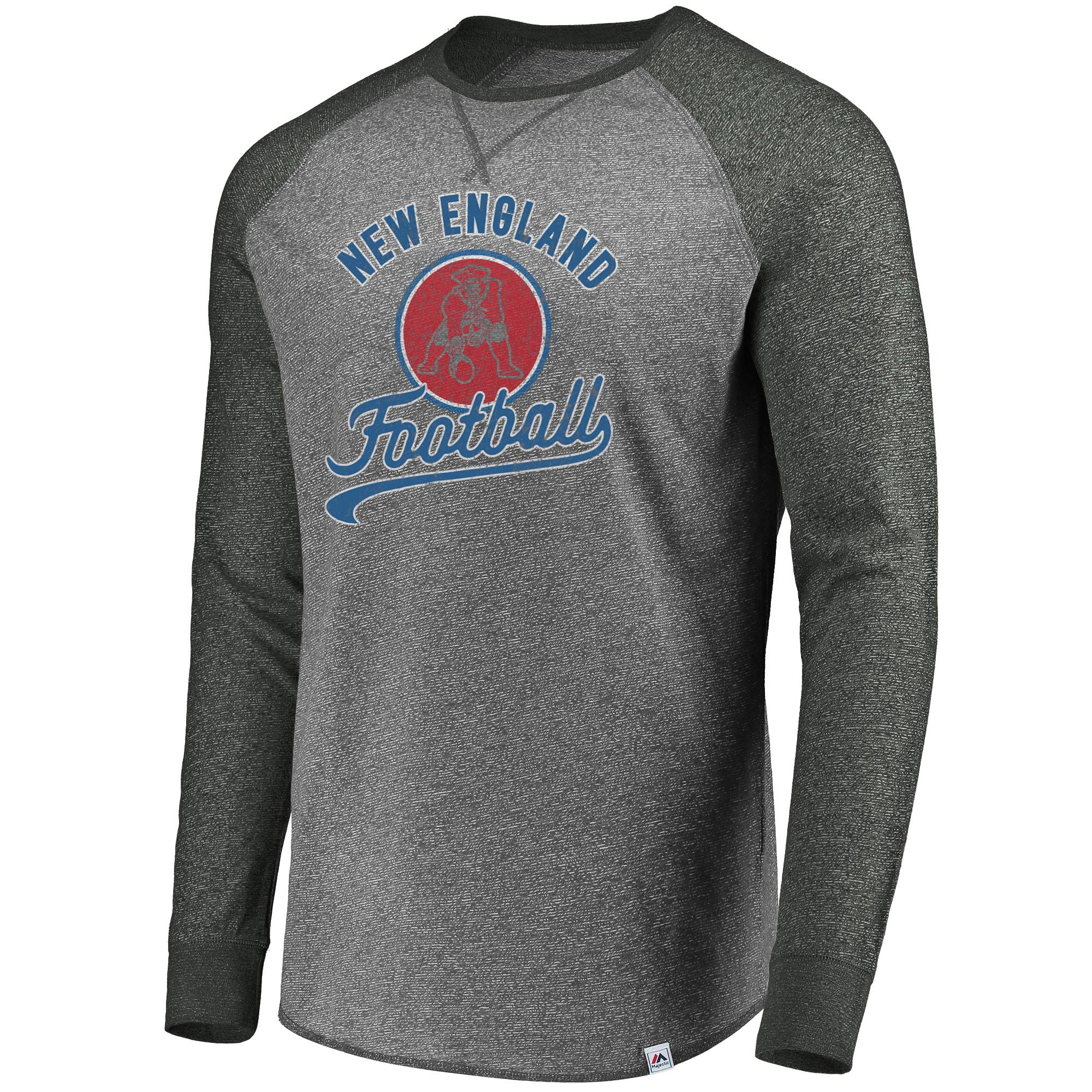 ef5501754aa New England Patriots Majestic Historic Static Marled Raglan Long Sleeve  T-Shirt - Charcoal
