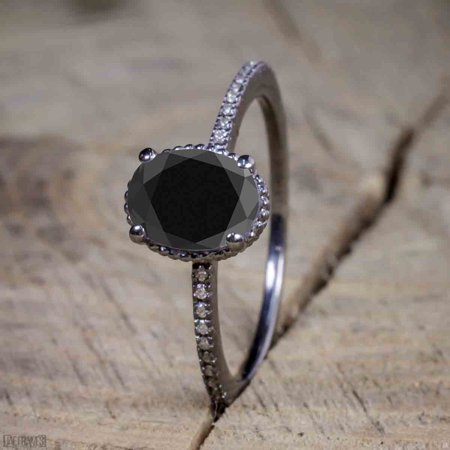 Beautiful 1 Carat Oval cut Moissanite Solitaire Engagement Ring for Women in Black Gold (Fake Oval Engagement Rings)