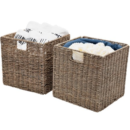 StorageWorks Seagrass Hand-Woven Storage Basket with Iron Wire Frame, 2-Pack, Large, Foldable