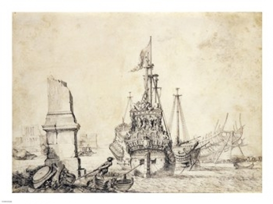A Ship in a Port with a Ruined Obelisk Rolled Canvas Art Pierre Puget (24 x 18) by PD Images
