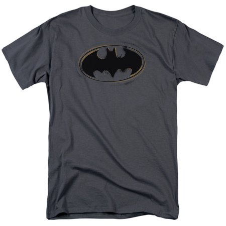 BATMAN/SPRAY PAINT LOGO-S/S ADULT 18/1 - CHARCOAL - 4X