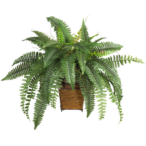 Boston Fern with Wicker Basket Silk Plant