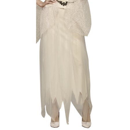 Ghostly White Adult Women Long Ghost Costume Bottom Skirt-One Size](Adult Ghost Costume)