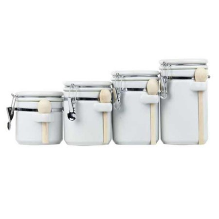 Home Basics 4-Piece Ceramic Canister Set with -