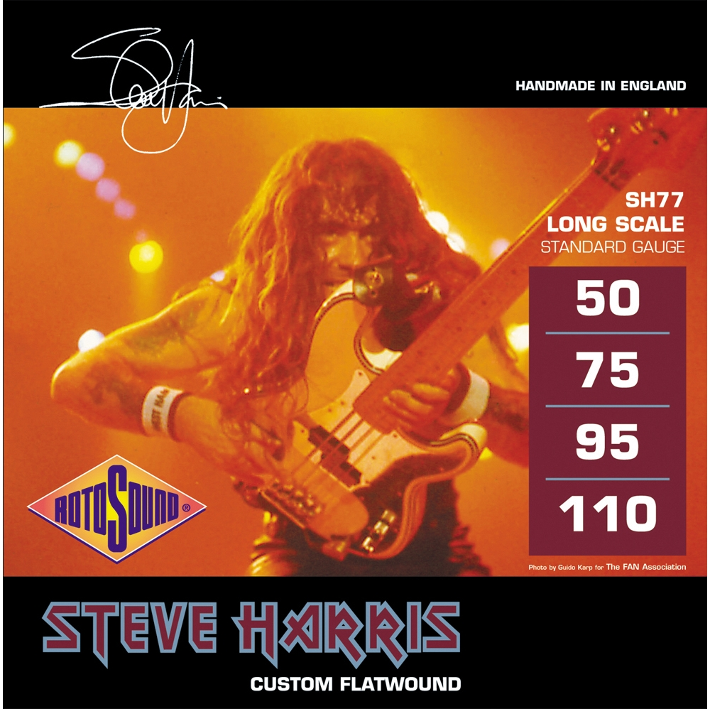 Click here to buy Rotosound SH77 Steve Harris Signature Flat Wound Bass Strings by Rotosound.