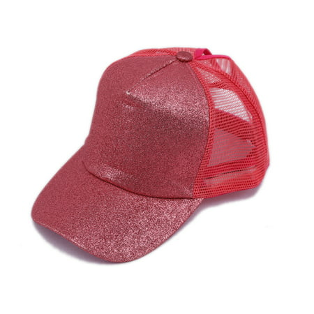 Sequin Baseball Cap - UKAP New Women's Baseball Cap Fluorescent Sequins Ponytail Cap Rear Opening Hip Hop Hat for Women Baseball Cap Female Mesh Hat Visor Hat