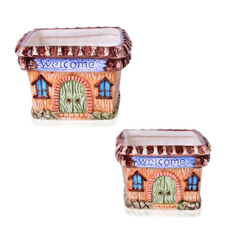 Set of 2 Square House Ceramic Flower Garden Pots for $<!---->