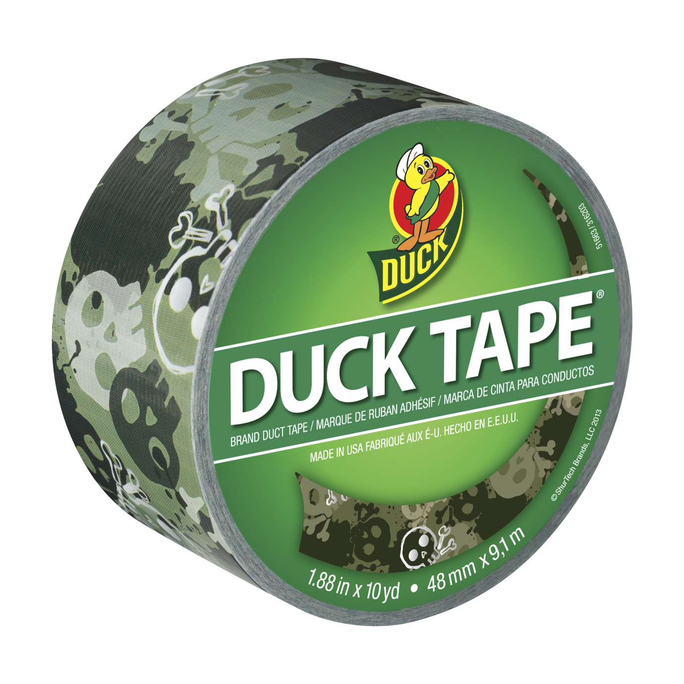 Printed Duck Tape Brand Duct Tape - Camo Skulls, 1.88 in. x 10 yd.