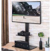 FITUEYES TV Stand with Mount for 32 to 65 inch TV Hight Adjustable Swivel TV Stand Tempered Glass Base