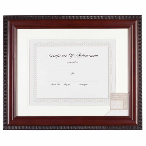 "11"" x 14"" Mat 8.5"" x 11"" Mahogany with Bead Document Frame"