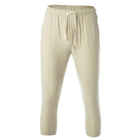 LELINTA Men's Casual Beach Trousers Elastic Loose Fit Lightweight Linen Summer Pants, Khaki/ Black Casual Pant Khaki