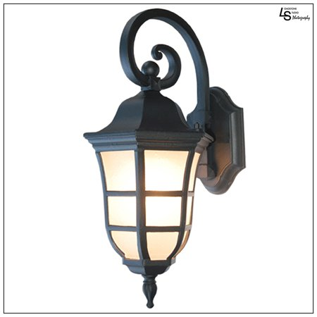 Loadstone Studio Le noir Collection Matt Black Finish Exterior Outdoor Lantern Light with Frost Bubbled Glass, Wall,WMLS1898 (Exterior Collection)