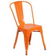 "33"" Orange Contemporary Outdoor Furniture Patio Stackable Chair"