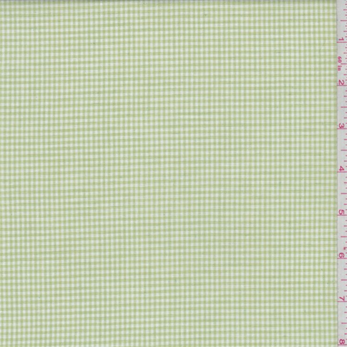 Lime Gingham Check Cotton Shirting, Fabric By the Yard