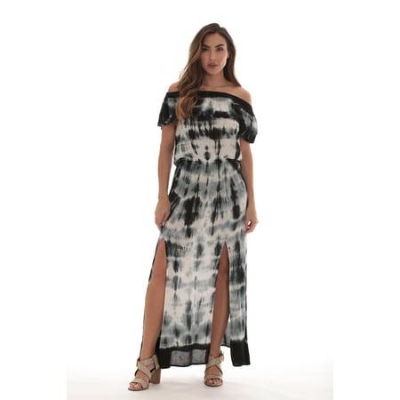 Riviera Sun Tie Dye Off Shoulder Maxi Sundress](Belle Dress For Sale)