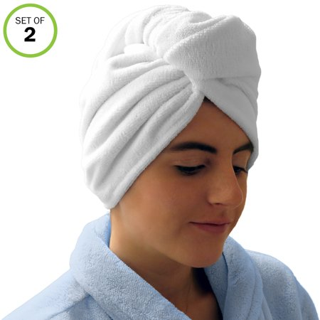 - Evelots Microfiber Absorbent Hair Drying Towel Wraps for Long or Short Hair- S/2