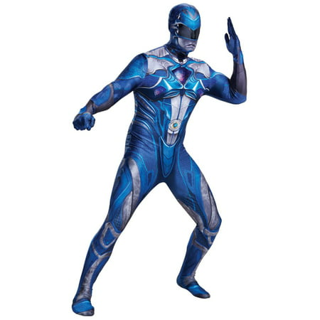 Mens Power Rangers Costume Blue Ranger Suit Leotard Bodysuit (Mens Pink Leotard)
