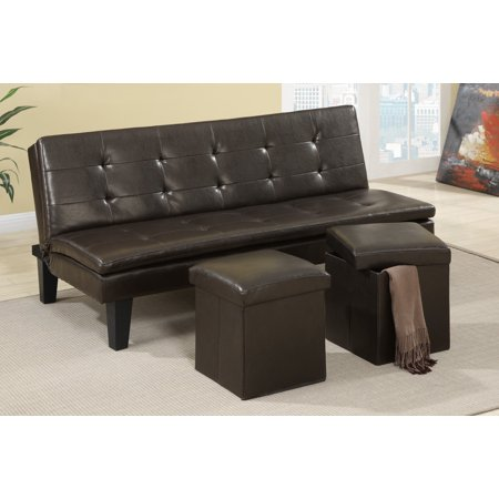 Peachy Poundex F7197 Espresso Faux Leather Sofa Futon With 2 Andrewgaddart Wooden Chair Designs For Living Room Andrewgaddartcom
