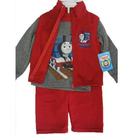 Thomas and Friends Little Boys Gray Red Train Print Vest Shirt 3 Pc Pants Set 12-24M