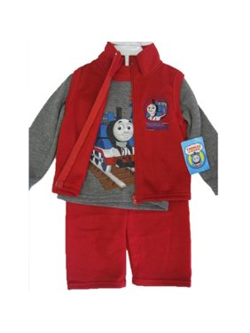613658fb6 Product Image Thomas and Friends Little Boys Gray Red Train Print Vest Shirt  3 Pc Pants Set 12