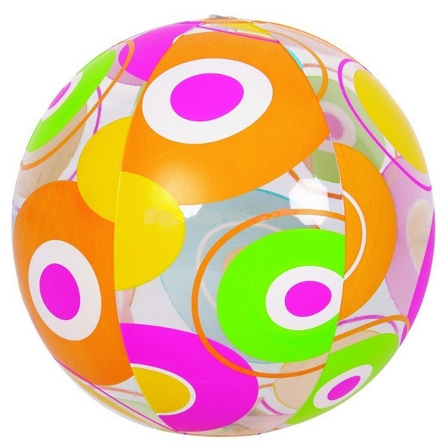 "20"" Colorful 6-Panel Circle Print Inflatable Beach Ball Swimming Pool Toy by Pool Central"