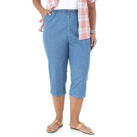 Women\'s Plus-Size Comfort Collection Elastic-Waist Capri Pants