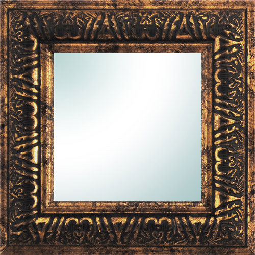 "9"" x 9"" Gold Ornate Square Mirror"