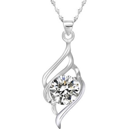 Designer Inspired CZ Silver-Tone Intertwined Necklace, 18