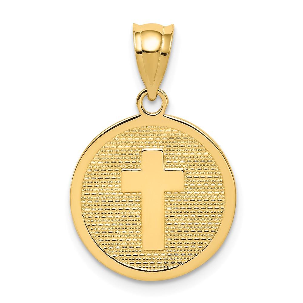 14k Yellow Gold Reversible Cross & GOD BLESS Charm (0.7in)