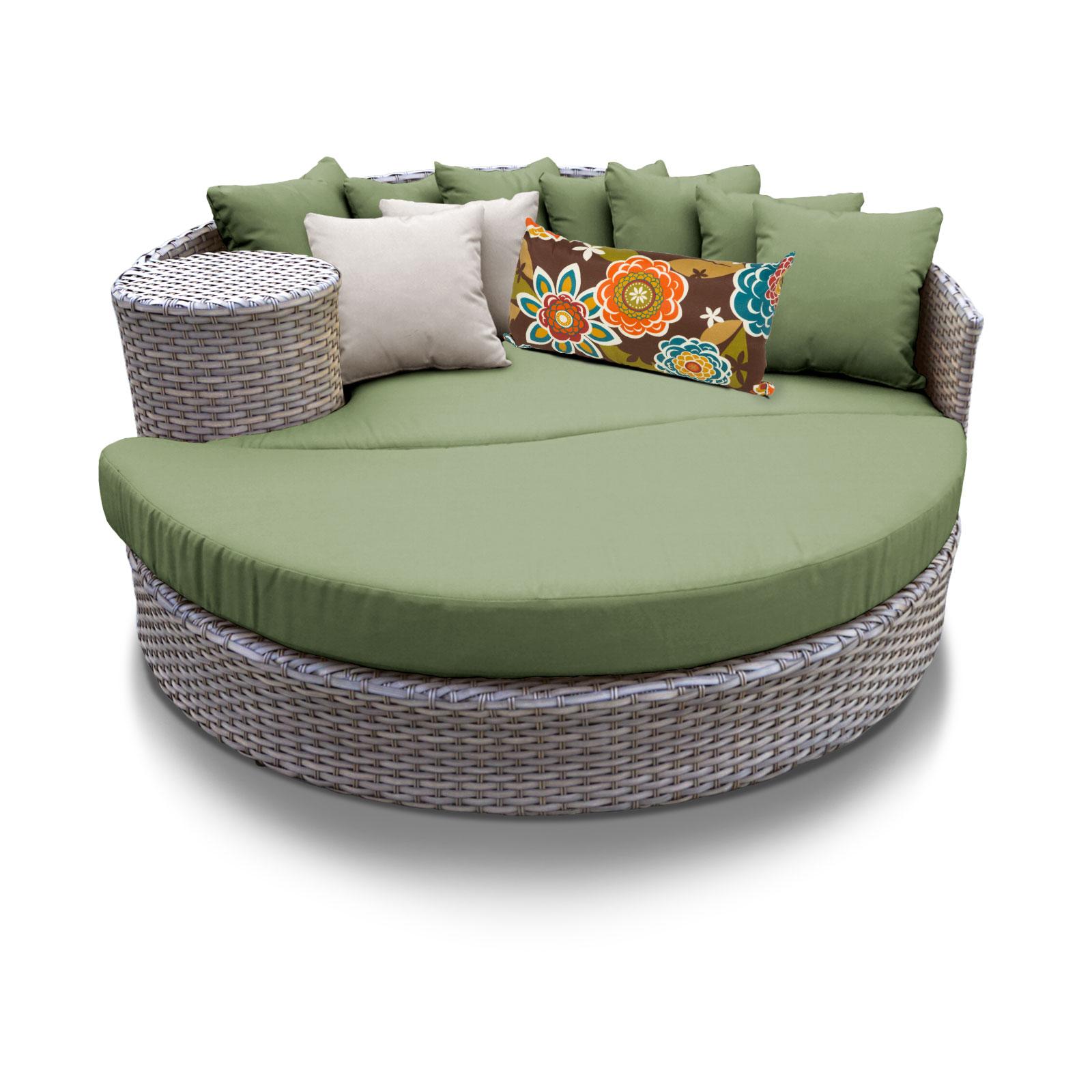 TK Classics Oasis Circular Sun Bed - Outdoor Wicker Patio...