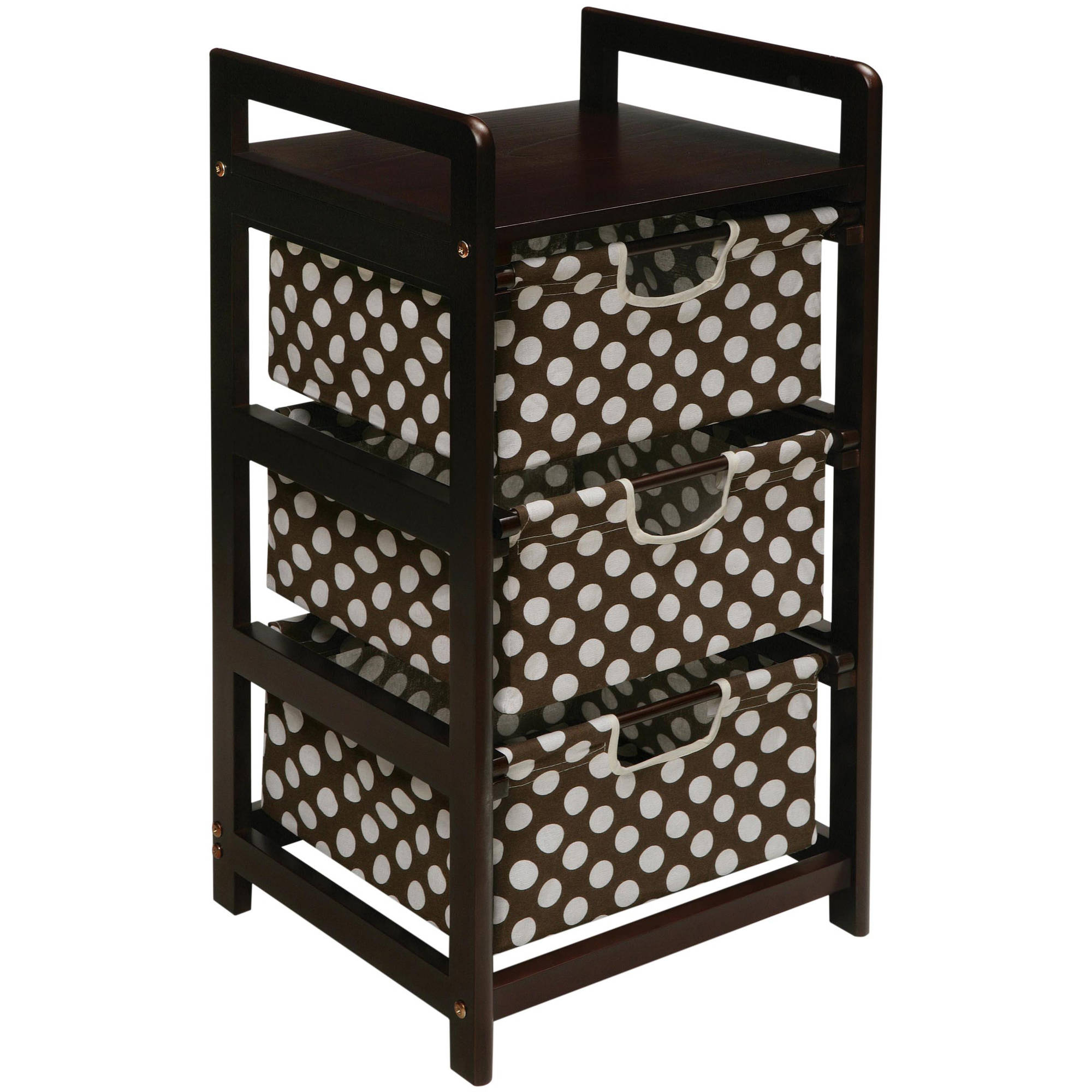 Badger Basket 3-Drawer Hamper Storage Unit, Espresso Finish with Brown Polka Dot Print Drawers by Badger Basket