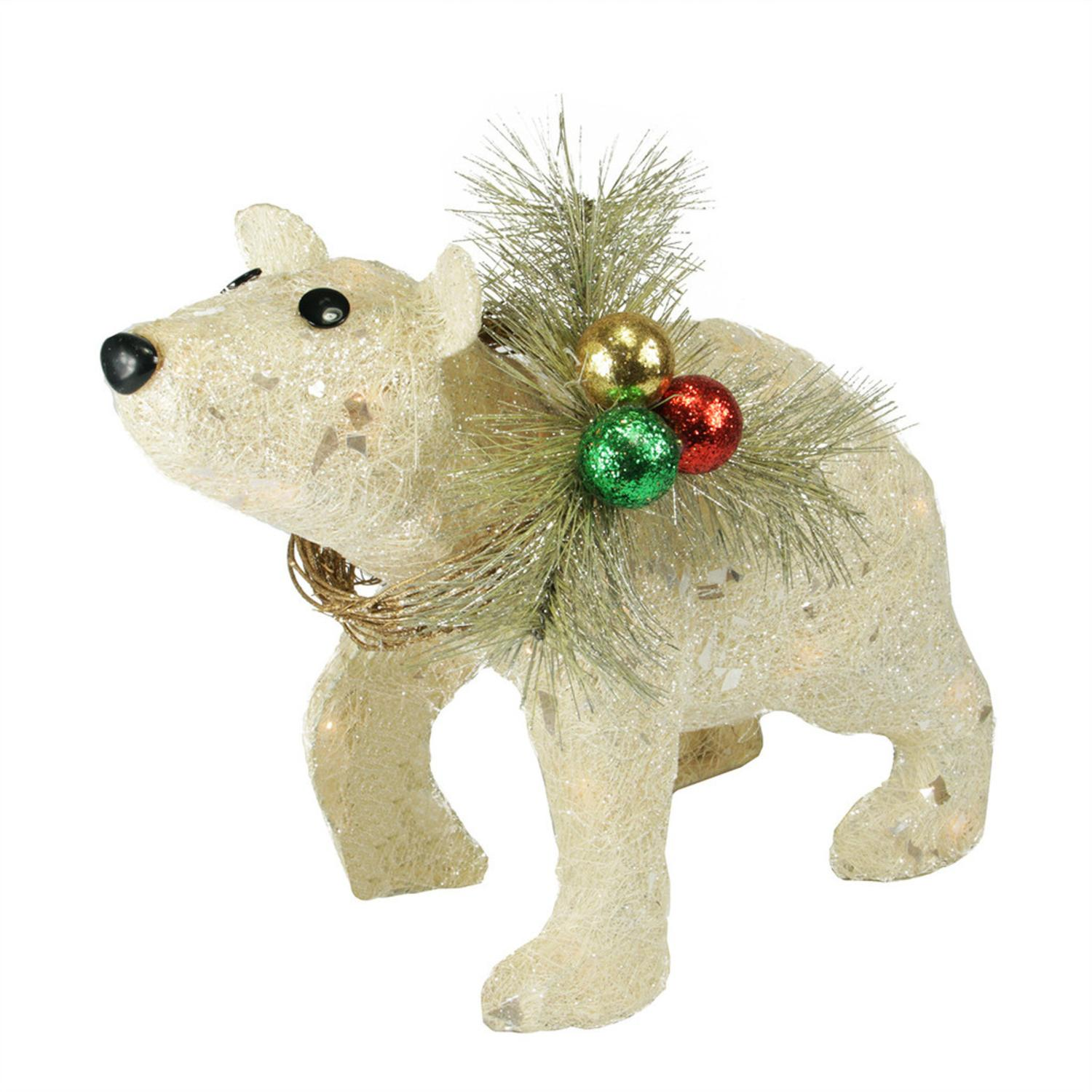 16 lighted sparkling sisal baby polar bear christmas yard art decoration walmartcom - Outdoor Polar Bear Christmas Decorations