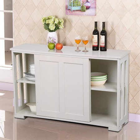 Yaheetech antique white stackable sideboard buffet storage for Kitchen cabinets 75 off