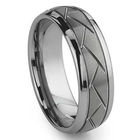 - Tungsten Carbide Diamond Cut Groove Newport Wedding Band Ring Sz 10.0