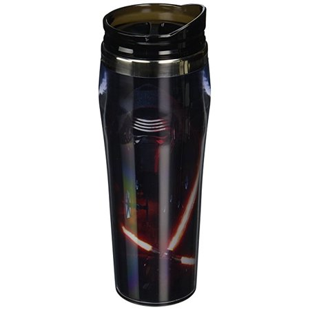 Silver Buffalo SE0470 Disney Star Wars Ep7 Kylo Ren Poster Curved Plastic Travel Tumbler, 16 oz, Mul (Curvy Movie Stars)