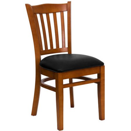 Flash Furniture Slat Back Chairs - Set of 2, Cherry / Black Vinyl Seat