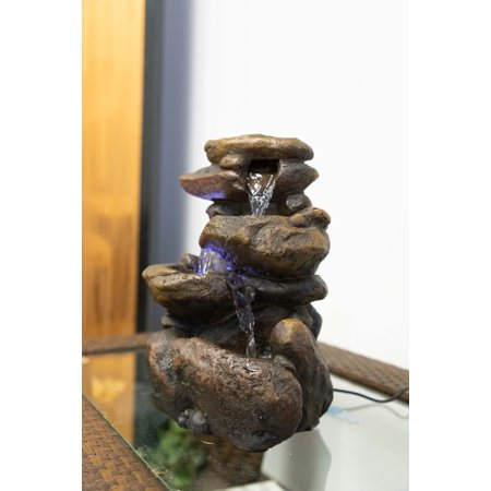 - 11 Inch Tiered Rock Tabletop Fountain With Led Lights