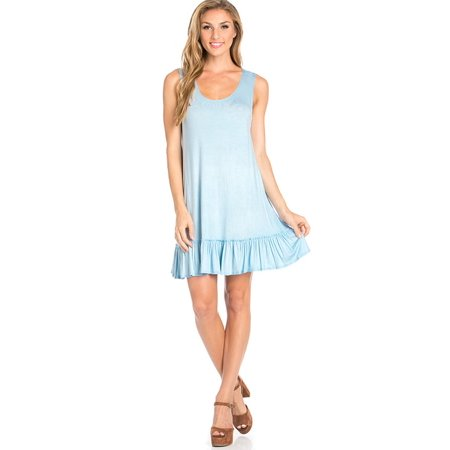 Sassy Apparel Womens Soft and Comfortable Spring Summer Solid Color Sleeveless Scoop Neck Above Knee Mini Dress Skirt with Ruffle Accent (Mineral Springs Apparel)