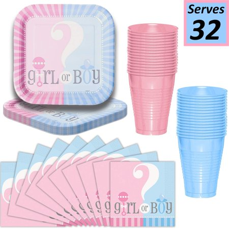 Gender Reveal Plates, Cups, Napkins - Serves 32-9