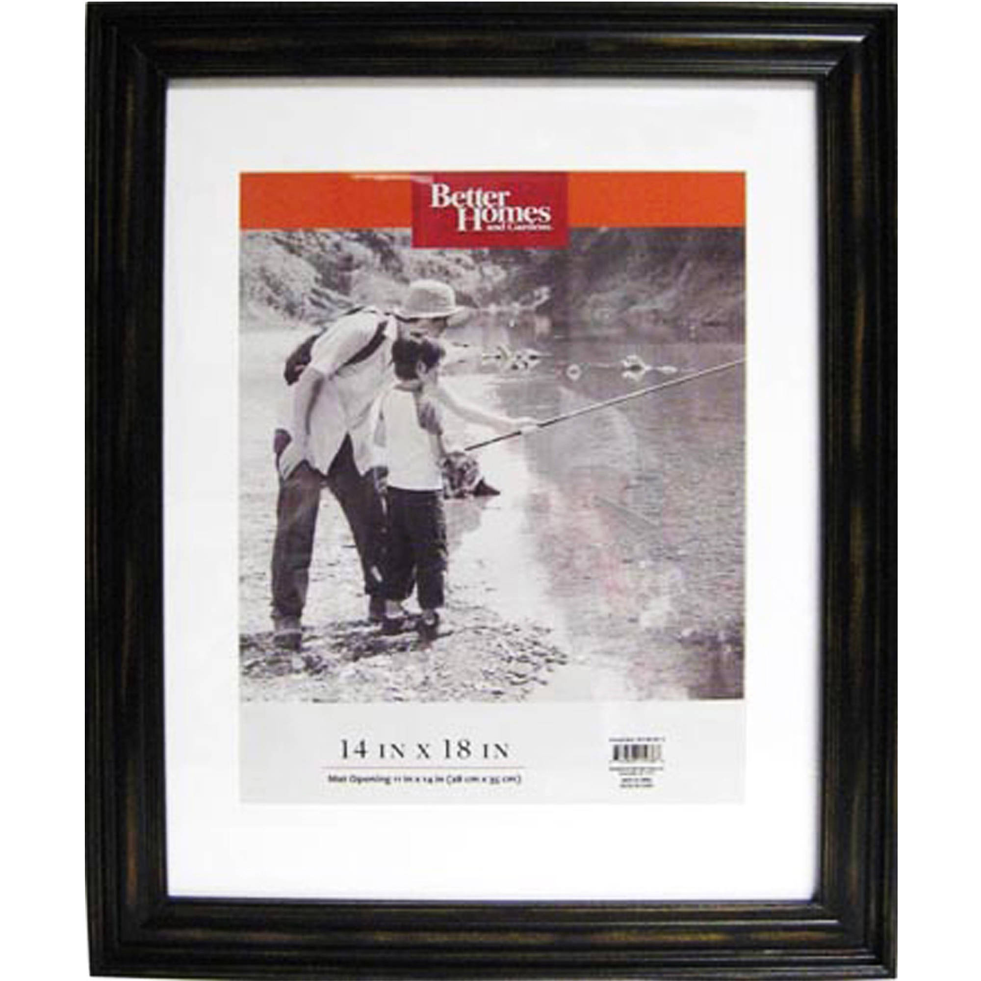 Better Homes and Gardens Distressed 14x18 Picture Frame, Black