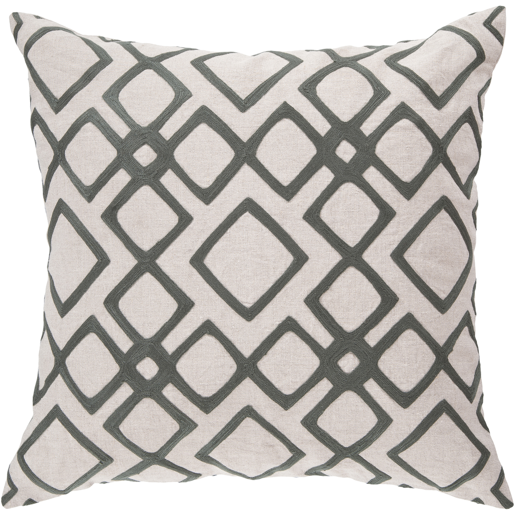 Art of Knot Beaumont Hand Crafted Wool Embroidery Linen Decorative Pillow with Poly Filler, Charcoal