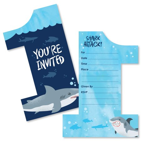 1st Birthday Shark Zone - Shaped Fill-in Invitations - Jawsome Shark First Birthday Party Invitation Cards with Envelope